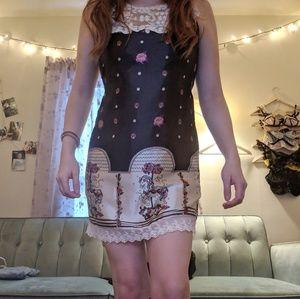 Silky lace carousel dress